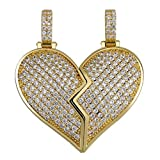 TOPGRILLZ Iced Out Premium Diamond Solid Magnetic Broken Heart Matching Pendant with 2 Rope Chains Necklace Valentine Gifts for Lovers Men and Women (Gold Matching)