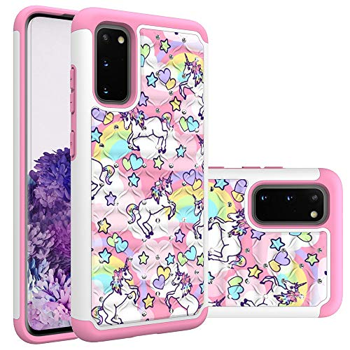 Samsung Galaxy S20+ Case, Galaxy S20 Plus Case for Girls Women, Rainbow Unicorn Pattern Heavy Duty Studded Rhinestone Crystal Bling Hybrid Case Silicone Armor for Samsung Galaxy S20+ Plus (6.7 inch)