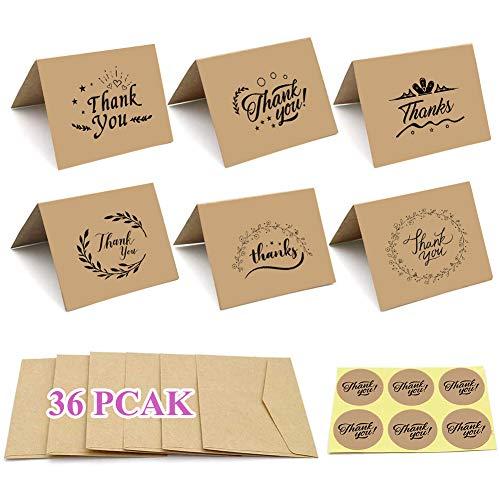 36 Piezas tarjetas de agradecimiento, tarjetas de agradecimiento con sobres y pegatinas, mini tarjetas de felicitación papel kraft marrón en blanco para bodas/Acción de Gracias/graduación - 9 x 7 cm