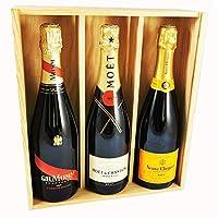 brut champagne mix - veuve clicquot/moet & chandon/mumm cordon rouge - in cassetta di legno