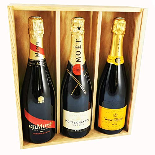 Brut Champagner Mix - Veuve Clicquot/Moet & Chandon/Mumm Cordon Rouge - In Holzkiste
