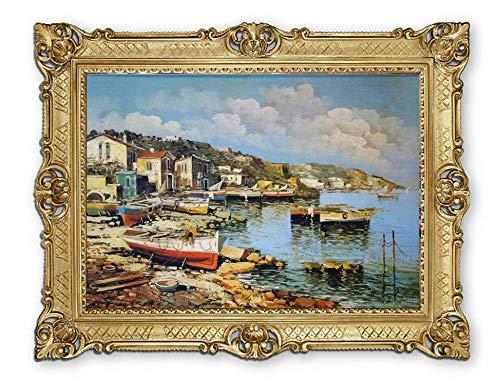 Lnxp Prachtig schilderij door Martinelli boot boten schip schip schip strand zee scheepsbeeld beeld zeilschip zeilboot golven maritiem 90x70 cm afbeeldingen barok antiek repro P-37