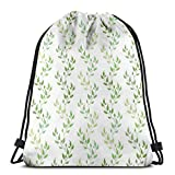 Jiger Drawstring Tote Bag Gym Bags Storage Backpack, Symmetrical Olive Leaves and Wavy Branches with Ethnic Patterns Classical Illustration,Very Strong Premium Quality Gym Bag for Adults & Children
