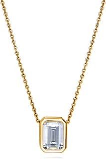 Yellow Gold Flashed Sterling Silver Emerald Cut Cubic Zirconia CZ Solitaire Anniversary Wedding Pendant Necklace 1.74 CTW