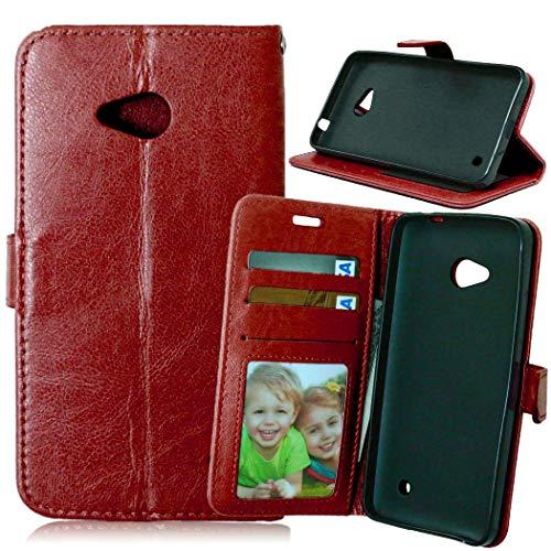 JEEXIA® Etui Schutzhülle Für Microsoft Lumia 640 Dual-SIM, Mode Geschäft PU Leder Lederhülle Flip Cover Brieftasche Innenschlitzen Mit Stand Function Design - Brown