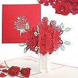 Tarjeta de Felicitación Pop Up 3D, Tarjeta para el día de San Valentín, Tarjeta de Felicitación Forma de Rosa Romántico para el cumpleaños o el aniversario del amante (Rojo Ramo de rosas)