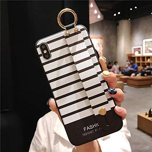 NiceGuu Wrist Strap Phone Cases for iPhone Xs Max Case for iPhone 11 Pro Max 7 8 7plus 8Plus X XS XR Stripe Soft TPU Back Cover (White, for iPhone 7 8)