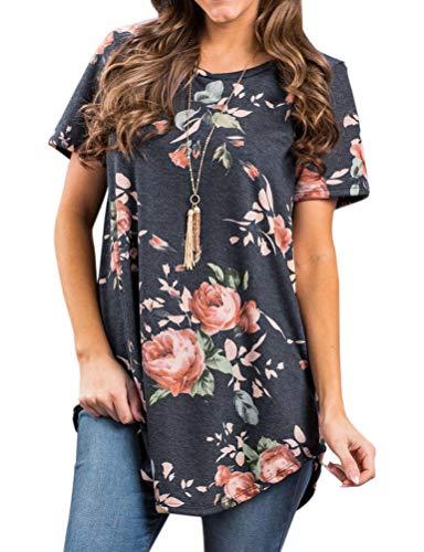 Ezcosplay Women's Round Neck Short Sleeve Floral Print Asymmetric Hem Shirt Top