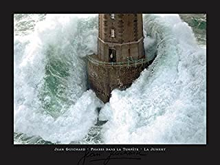 Buyartforless La Jument Phares Dans La Tempete Lighthouse Photograph by Jean Guichard 31.5x23.5 Art Print Poster Wall Decor Famous Image Lighthouse with Crashing Wave Man Standing Outside