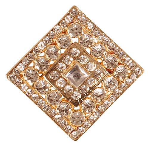 Touchstone New Indian Bollywood Romance Traditional Marvelous Look Crafted Rhinestone Kundan Look Vintage Designer Jewelry Rhombus Shape Brooch In Gold Tone For Women.