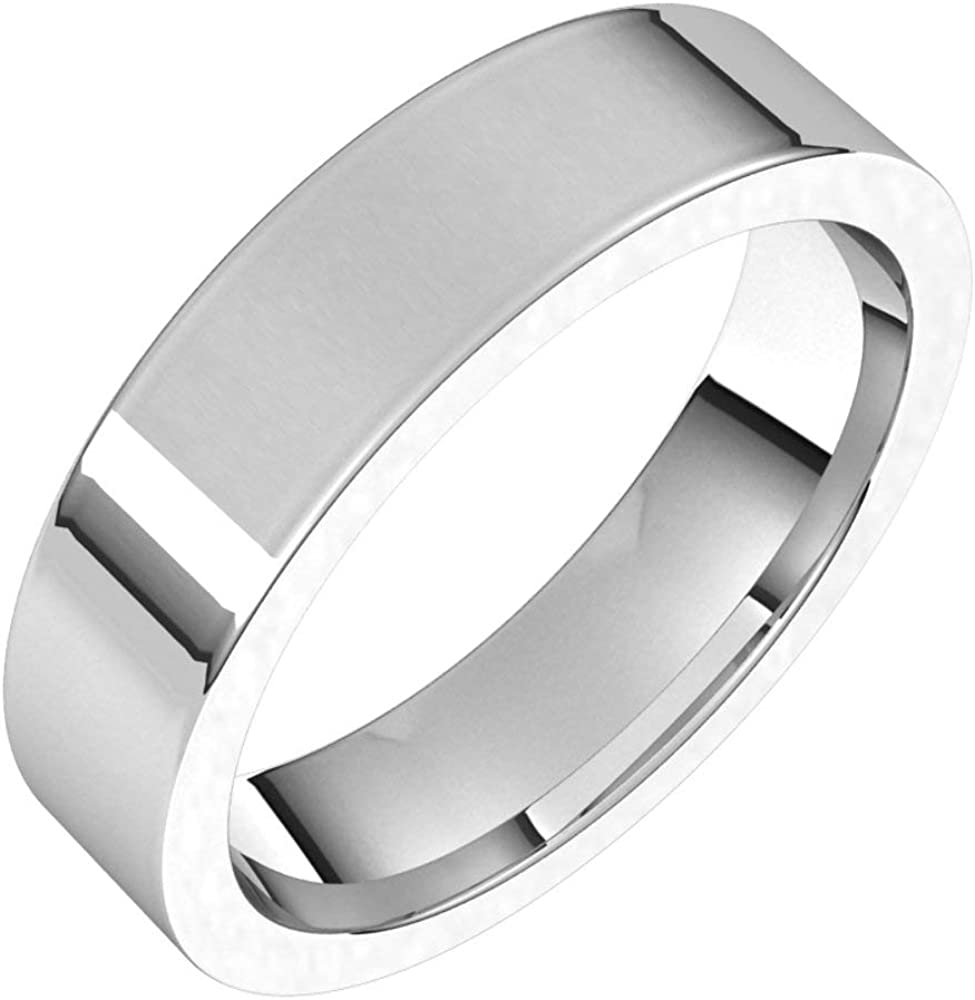 Sterling Silver 5mm Flat Comfort Fit Los Angeles Mall Band Ring Bridal Max 88% OFF Wedding S