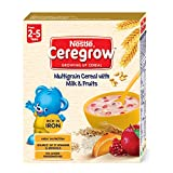 Nestlé CEREGROW Fortified Multigrain Cereal with Milk and Fruits, 300g Bag-In-Box Pack