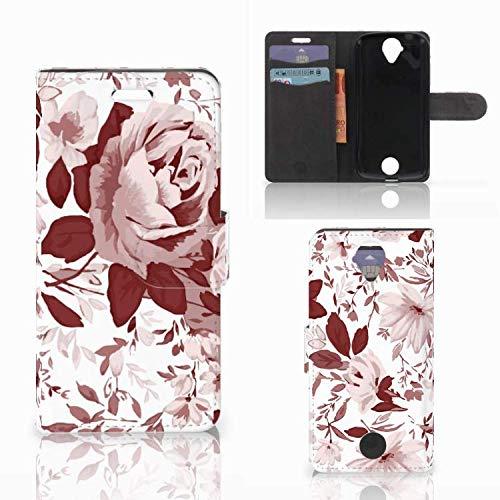 B2Ctelecom Lederhülle für Acer Liquid Z330 Handytasche Aquarell Blumen - Last Minute Geschenke