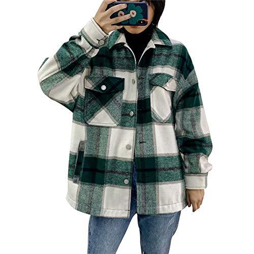 ISAKEN Damen Kariertes Mantel Taschen Knöpfen Langarm Oversize Bluse Mantel Hemdjacke Holzfällerjacke Mit Brusttaschen Mode Boyfreind Jeansjacke