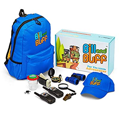 Kids Outdoor Toy, Educational Adventure/Explorer Kit for Children.10-in-1 Includes: 2X Walkie Talkies, Backpack, Cap, Binoculars, Flashlight, Compass, Bug Catcher, Magnifying Glass & Whistle. by Bill and Buff