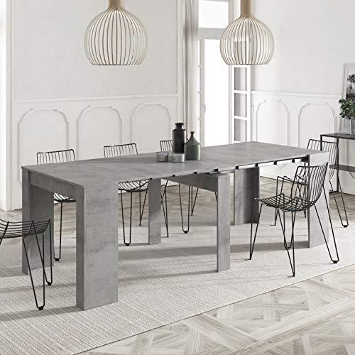 Habitdesign 004580L - Mesa de Comedor Consola Extensible, Mesa para Salon recibidor o Cocina (Gris Cemento)
