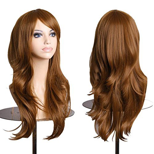 """AneShe Wigs 28"""" Long Wavy Hair Heat Resistant Cosplay Wig for Women (Light Brown)"""