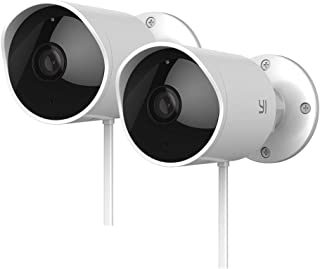 YI Outdoor Security Camera 2pc, 1080P 2.4G Wi-Fi IP Waterproof Night Vision Surveillance System with 24/7 Emergency Respon...