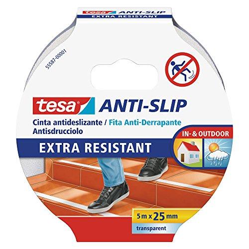 tesa Cinta Antideslizante , Cinta Adhesiva Antideslizante para Interiores y Exteriores , adecuado para Escalones, Rampas y...