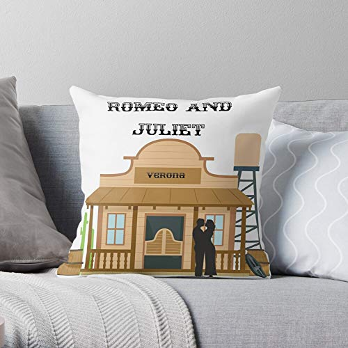 Western and Juliet Saloon Romeo Verona - Western - Cute Design Polyester Home Sofa Decorative Cushion Cover Case Customize Square Pillowcase Printed - Customize