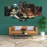 Decoración De Pared Cartel para Sala De Estar Moderno HD Impreso 5 Paneles Pared Arte Hogar Decoración Lienzo Pintura-Los Siete Pecados Capitales Anime Marco/150x80cm
