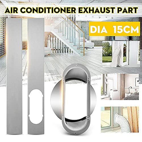 Mobiele Airconditionerkit, 2-delige Raamschuifplaat Met Buisadapter Van 15 Cm Voor Draagbare Airconditioner Zilver Een maat