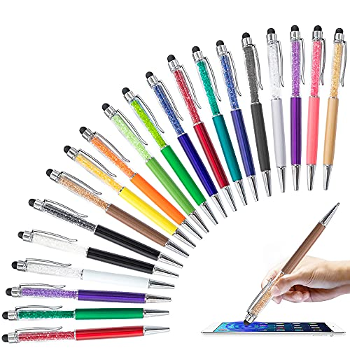 20 St¨¹ck 2 in 1 Stylus Kugelschreiber, HOSTK Crystal Diamond Retractable Screen Touch Pen, kapazitive Bling-Stifte f¨¹r Smartphones, Notiz, Tab, Schreibwaren, B¨¹roschulen (20 stiftschwarze Tinte)