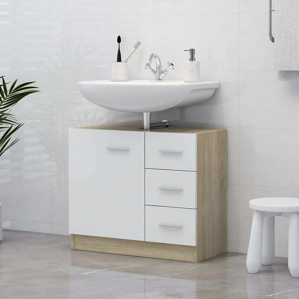 vidaXL Sink Cabinet Cupboard High material Laundry 67% OFF of fixed price Rack Washroom Room Storage