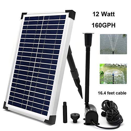 ECO-WORTHY Solar Fountain Water Pump Kit 10 W, 160GPH+ 12 Watt Solar Panel Submersible Powered Pump for Small Pond, Garden Decoration, Pool, Birdbath (Need Sunlight)