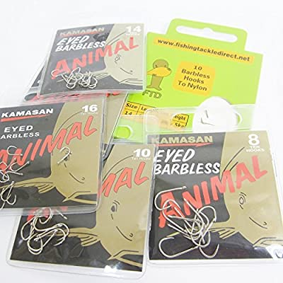 FTD - Min of 30 (3 packs of 10) KAMASAN ANIMAL (BARBLESS) Eyed Fishing Hooks Sizes 8, 10, 12, 14 & 16 - comes with 10 FTD Barbless Hooks to Nylon