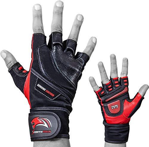 Sportstech BXF20 Trainingshandschuhe für Fitness | Handschuhe mit Handgelenkstütze | Ideal für Kraftsport, Crossfit-Training, Calisthenics und das Gym | Fitnesshandschuhe für Herren und Damen (Rot, M)