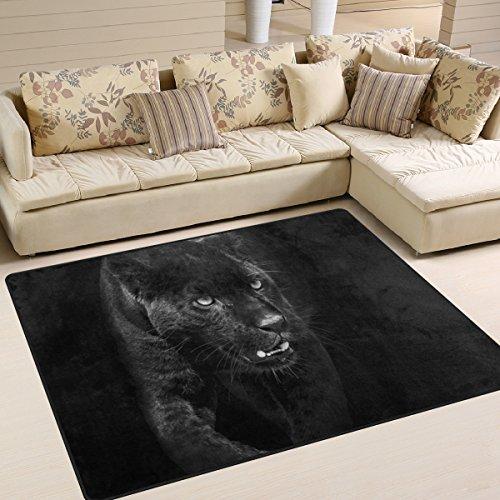 yibaihe Große Fläche Teppiche Black Panther in dunklen Gedruckt, leicht rutschfeste antistatisch wasserabweisend Boden Teppich für Wohnzimmer Schlafzimmer Home Deck, 160x 122cm