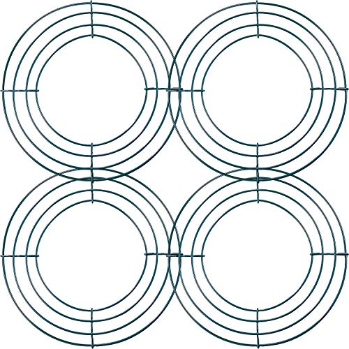 Dunkelgrüne Kranz Rahmen Metallblumen-Kranz-Rahmen für Neues Jahr Valentinsgruß Party Dekoration (Stil B, 4 Stücke, 8 Zoll)
