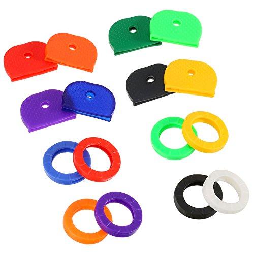 64 Piezas de Cubierta de Llave Tapa de Identificación de Llave Etiqueta de Anillo Tapa de Llave de Goma, Colores Variados