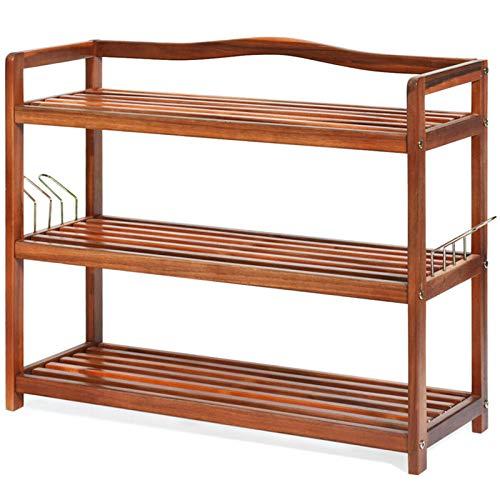 YFH Zapato de bambú, estantería de Zapatos Organizador de Almacenamiento 3-Nivel con 4 Barra Colgante Entrada de la Barra Rack, gabinete de Almacenamiento de estantería para Zapatos, Libros y macetas