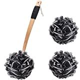 Shower Sponge with Long Handle Back Scrubber Brush and 2 Pcs Body Wash Puff 60g Black Loofah Bath Exfoliating Sponges for Men, Women and Elderly