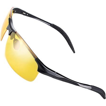 Chereeki Nachtsichtbrille Autofahren Nachtsicht Brille Polarisiert Hd Gelbe Anti Glanz Metall Sonnenbrille Für Herren Und Damen Nachtfahrbrille Bekleidung