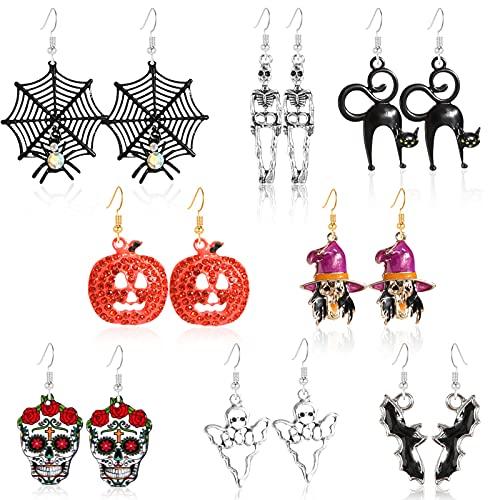 HOWAF 8 Pares Novedad Pendientes Colgantes de Halloween para Mujeres Niñas Regalo de Joyería de Halloween, Gato Negro Calavera Pendientes Esqueleto Calabaza Pendientes Bruja Fantasma Murciélago