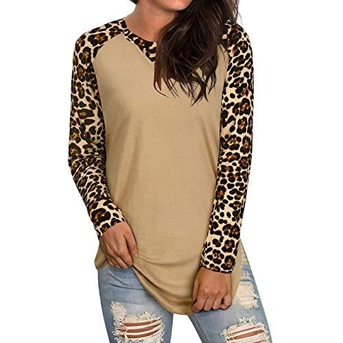 YANFANG Camiseta Casual Deporte Mujer,Blusa Liviana de Manga Larga con Cuello Redondo y Bloque de Color para Mujer Tops Blusas Sudadera