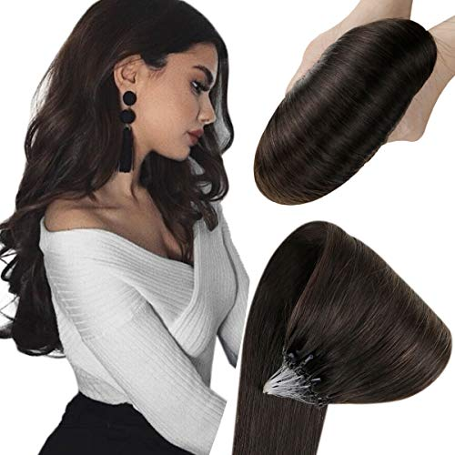 Hetto Extensions Echthaar Microring Haarverlängerung Ringe 16 Zoll Dunkelstes Braun 2 50G Per Package Micro ring Extension Haar