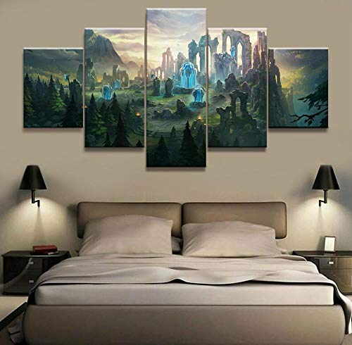 Murturall Impression sur Toile 5 Parties Mur Art Photos HD Prints Cadre 5 Pièces League of Legends Carte Jeu Peinture Home Decor Salon Modulaire Toile Affiche-150x80cm