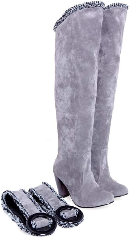 Zgshnfgk Women's Belt Buckle Cuffed high Boots Chunky Heel Cotton Boots