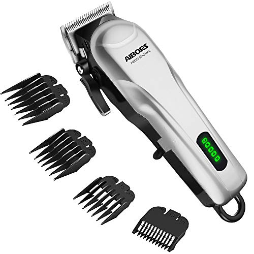 AIBORS Hair Clippers For Men Cord Cordless Hair Trimmer Professional Haircut for Mens Stylists Barbers Kids Home Rechargeable LED Display (silver)