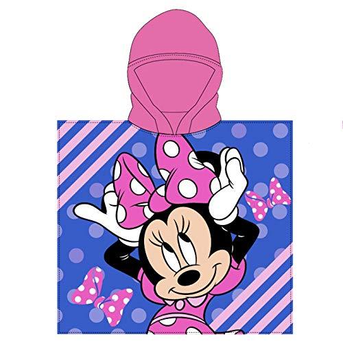 Toalla de Poncho para Playa y Piscina Infantil de Licencia Oficial (Minnie Mouse C)