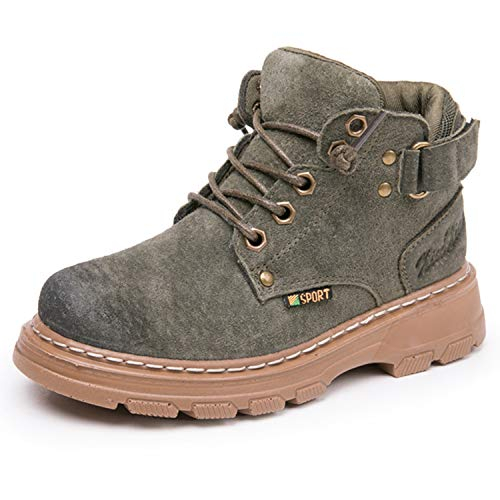JACKSHIBO Ankle Outdoor Boots for Boys Girls Warm Winter Leather Boots(Toddler/Little Kid/Big Kid) Fur Lined Green 1.5-2 Little Kid