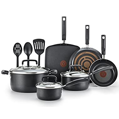 T-fal Cookware Set, Nonstick Pots and Pans Set, 12 Piece, Thermo-Spot Heat Indicator, Black