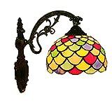 ZMLG Lámpara De Pared LED Tiffany, E27 Aplique De Pared Estilo Pastoral Con Pantalla De Vitral Iluminación De Pared Para Habitación De Niños Escaleras Cocina Balcón Pasillo Decoración Iluminación