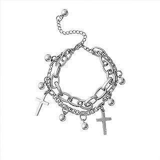 BMBN Gepersonaliseerde kruisarmband, mooie 2 lagen gekoppelde ketting armbanden charme gekoppelde armband gothic stijl met...