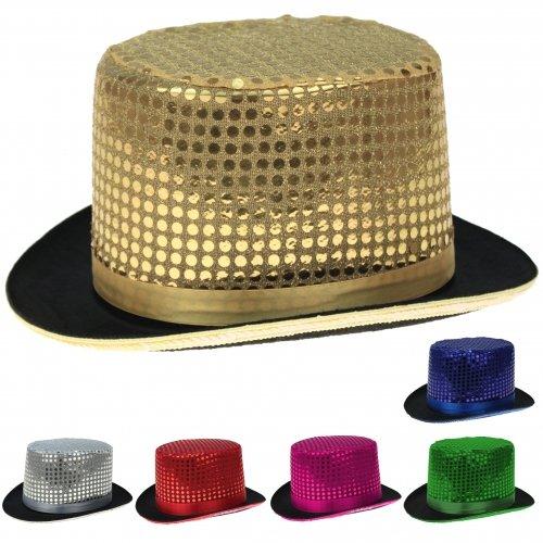 Toller, estable purpurina–Cilindro con lentejuelas, sombrero, top hat, tamaño Unisex, como Disfraz, carnaval,, bodas, polterabend, Soltero, etc