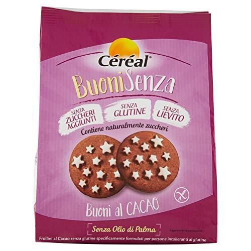 Céréal Buoni Senza al Cacao, Biscotti frollini stelle al cacao Senza Glutine, Senza Lievito, Senza Zuccheri aggiunti